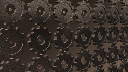 Seamless looping gears morphing from one type into another.