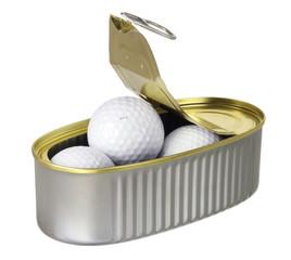 Golf Balls in Tin Can
