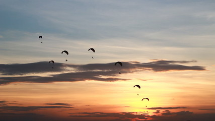 Set collection montage, Group of parachute fly in sunset