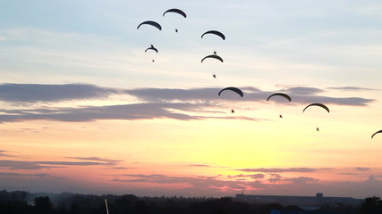 Set collection montage, Group of parachute fly in sunset,