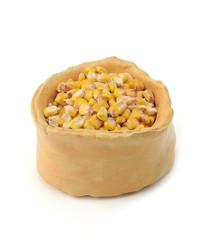Corn seeds in rustic bowl