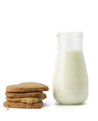 Stack of cookies and milk bottle