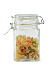 Elbow macaroni in jar