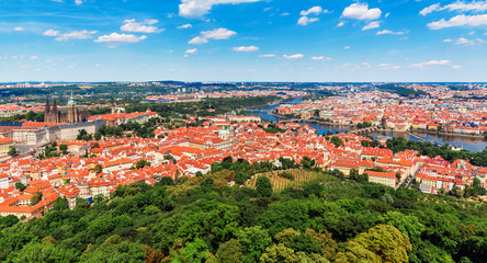Aerial panorama of Prague, Czech Republic