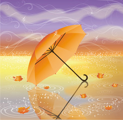 Autumn background with umbrella, vector