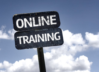 Online Training sign with clouds and sky background