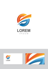 Abstract logo design element with business card template