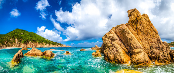Ocean coastline scenic panoramic view in Costa Paradiso, Sardini