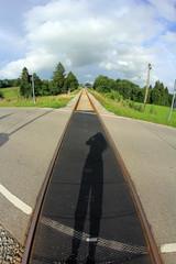 Bahnschienen auf der Straße