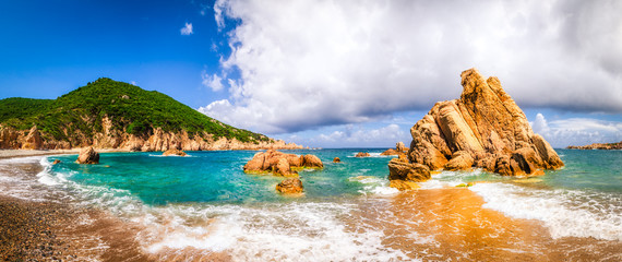 Beach scenic panoramic view in Costa Paradiso, Sardinia