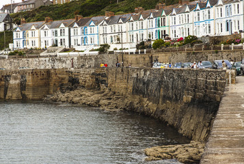 Porthleven harbour in Cornwall at low tide