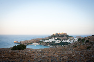 A view of Lindos bay at sunset, Rhodes, Greece