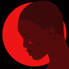 Profile of an African person with a bloody tear