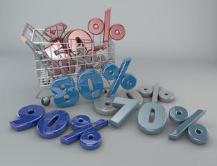 Carrello della spesa, sconti, saldi, supermercato, promozioni