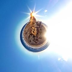 Abstract circular beach view