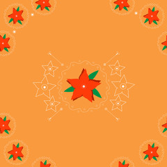 Seamless pattern with red flowers on orange background