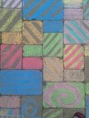 Rainbow sidewalk chalk.