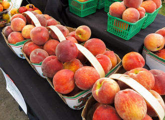 Organic Peaches at Farmers market