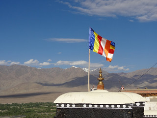 Colorful flag at Thiksey monastery in Leh, ladakh,  India