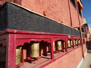 Prayer wheels at Thiksey monastery in Leh, ladakh,  India
