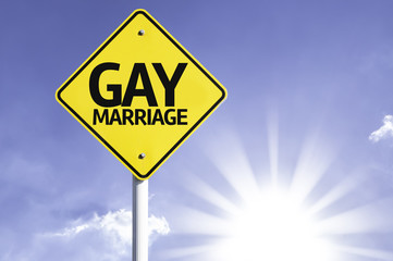 Gay Marriage road sign with sun background