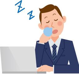 パソコンをするビジネスマン 居眠り