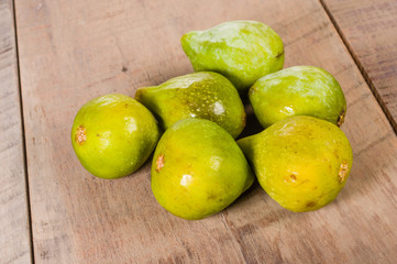 Fresh green figs picked ripe on a table