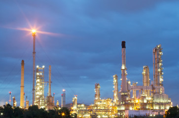Architecture of Petrochemical oil refinery plant  with sunrise t
