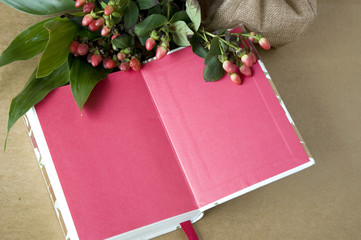 pink color notebook
