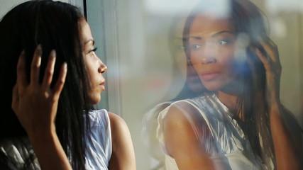 Woman Look at Mirror