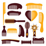 vector set of combs on a white background