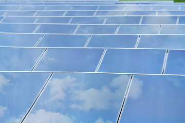 Reflexion of the sky on Solar cells