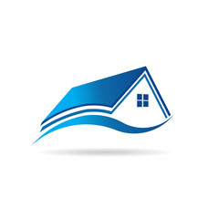 Aqua blue house  real estate image logo