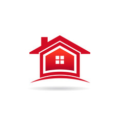 Red houses real estate image logo