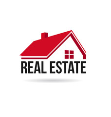 Red house real estate image.