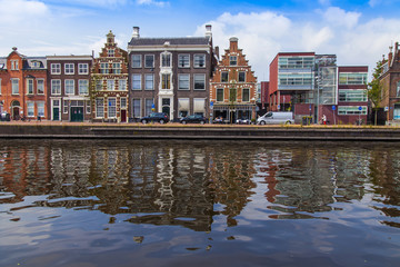 Haarlem, Netherlands. Old houses in the canal embankment