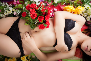 Beautiful flowers and beautiful female body
