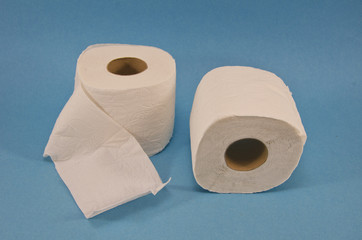 Soft Toilet Paper on blue background