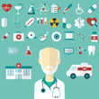 Set of flat Medical icons. Vector illustration