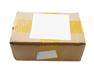 battered cardboard box isolated on white background