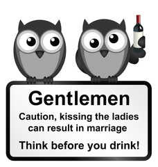 kissing the ladies whilst drunk warning sign