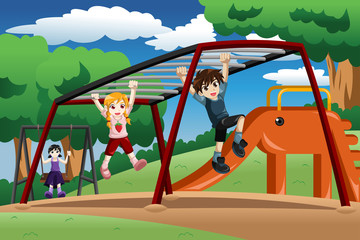 Kids playing on a monkey bar at the playground