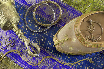 Idian ethnic still life with belly dance shoe and jewelry