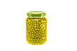 green pea vegetable canned preserved in glass jar pots isolated