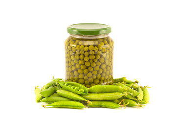green peas  canned preserved in glass jars isolated