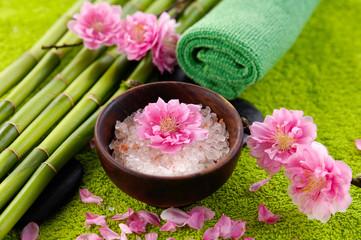 health spa setting on soft towel