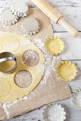shortcrust pastry making little tart on molds