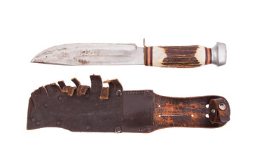 Very old bowie knife isolated