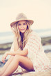 Beautiful young girl, Fashion vintage color
