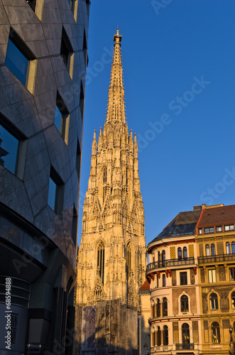 Sunset at downtown of Vienna near Saint Stephan's cathedral